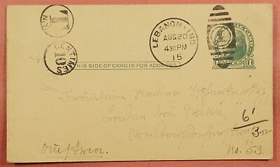 1915 Postage Due Postal Card Lebanon Indiana In To France ?