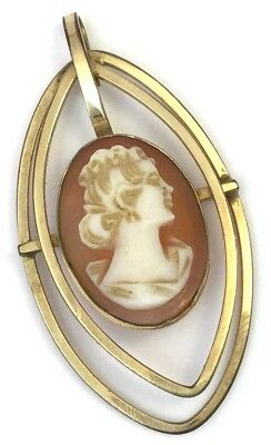 Vintage Cameo Necklace Pendant Carved Shell Van Dell 12K Gold Filled Jewelry