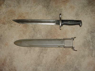 Vintage 1907 SA Marked US Military M1 Rifle  Bayonet With Original Scabbard