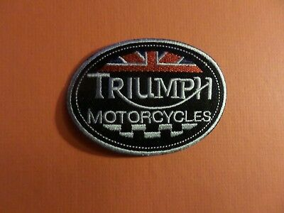 TRIUMPH MOTORCYCLE BLACK & SILVER & RED Embroidered 2-5/8 x 3-3/  Iron On Patch
