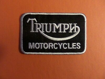 TRIUMPH MOTORCYCLE WHITE & BLACK Embroidered 3-1/8 x 2 Iron On Patch