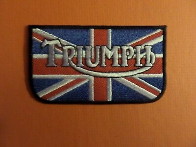 TRIUMPH  MOTORCYCLE WHITE & BLUE &RED Embroidered 2 X 3-5/8 Iron On Patch