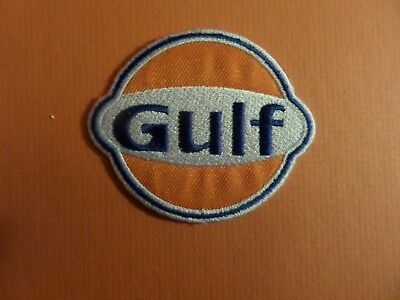 GULF OIL ORANGE & BLUE & SILVER Embroidered 2-1/2 x 2-3/4 Iron On Patch