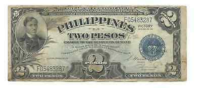 Philippines 1944 ND Victory Issue 2 Pesos Sergio Osmeña J. Hernandez Pick #95a