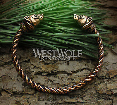 Bronze Viking Bear Bracelet / Torc - Berserker Arm Ring --- Norse/Celtic/Jewelry