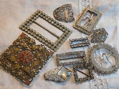 Fabulous Collection of Art Deco Vintage Crystal Paste Buckles etc