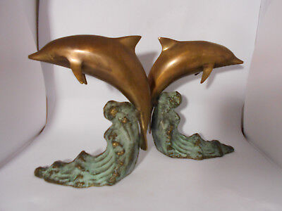 S F Bay Trading Co. Vintage Brass Jumping DOLPHINS on Waves Bookends Sculptures