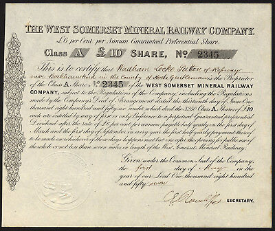 West Somerset Mineral Railway Company, £10 class A share, 1859, issued to Abr...