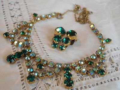 Vintage 1950s Green Aurora Borealis Rainbow Crystal Necklace Clip On Earrings