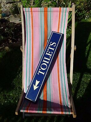 Vintage double-sided hanging wooden painted navy Toilets sign plaque pub Hotel?