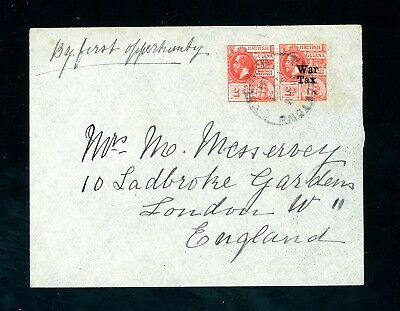 British Guiana 1919 Cover 'By first oppertunity' to England with War Tax  (D864)
