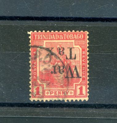 Trinidad and Tobago  1918  1d War Tax opt.  inverted  used   (D873)