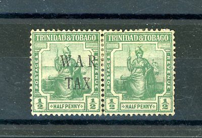 Trinidad and Tobago 1/2d War Tax Pair one without opt. Heavily Hinged MINT(D871)