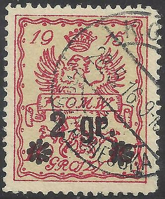 1915 KOMW Citizens' Committee for the City of Warsaw 2 groszy Polish Eagle used