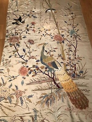 Superb Large Panel Antique Chinese Embroidered Silk Qing Dynasty Embroidery
