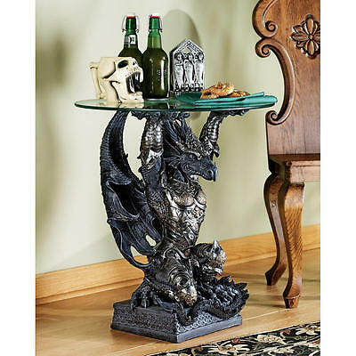 Medieval Gothic Warrior Dragon Glass Topped Sculptural End Side Table NEW