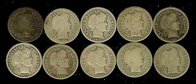 1902-1911 Barber Silver Dimes Nice 10 Coin Collection  Some Better Date!