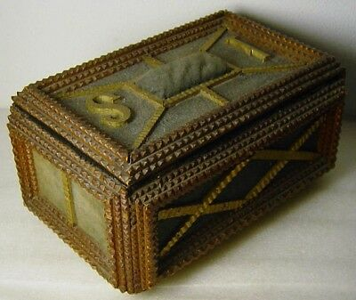 antique wooden chip carved Tramp Folk Art Sewing Chest Box Black Forest