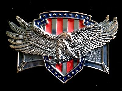 Patriotic Flying Eagle Copper Colored Red & Blue Belt Buckle Ex Cond 51/8 x 31/4
