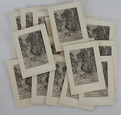 20 Antique ALBERT THAYER Etching Christmas Greeting Cards, Sheep & Shepherd