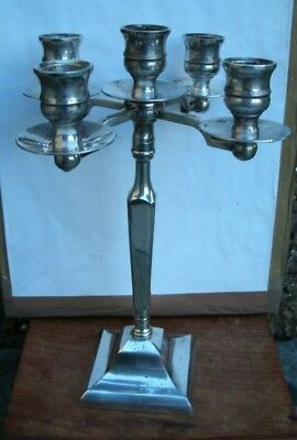 "Antique Silver Plate 5 Sconce 10"" Candelabra"