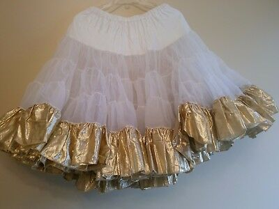 Square Dance Petticoat-Size L-White with Gold Lame-pre-owned