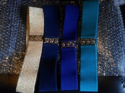 Set of 4-Malco Modes Elastic Square Dance Belt w/ Metal Buckle, Size Small