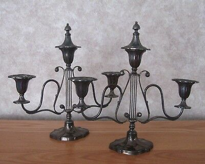 Pair Of Vintage Silver Plated Candelabras