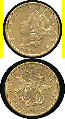 1860 $20.00 Gold Liberty- Scarce Issue