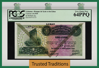TT PK 26c 1939 LEBANON 1 LIVRE PCGS 64 PPQ VERY CHOICE NEW POPULATION OF FIVE!