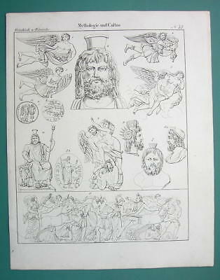 MYTHOLOGY Gods of Hell Pluto Zephyr Persephone Jupiter - 1825 Antique Print