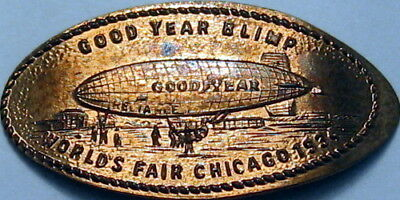 1934 Chicago Illinois World's Fair Good Year Blimp Elongated Cent
