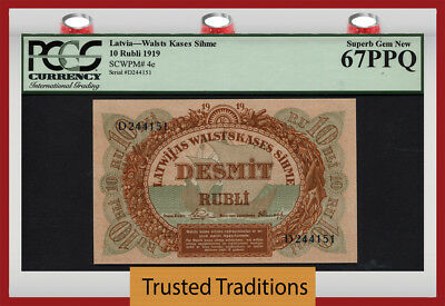 "TT PK 4e 1919 LATVIA 10 RUBLI ""98 YRS OLD"" PCGS 67 PPQ SUPERB POP 5 NONE FINER!"
