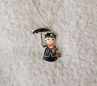 MARY POPPINS Inspired Large Charm NECKLACE With Rhinestones Nanny