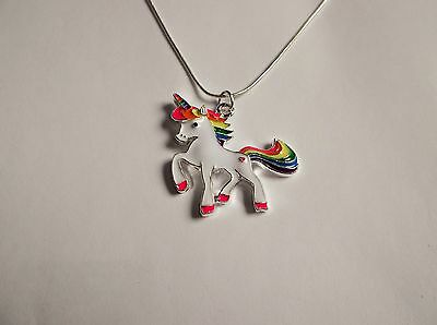 WHITE UNICORN With Rainbow HORN & TAIL Large Charm NECKLACE