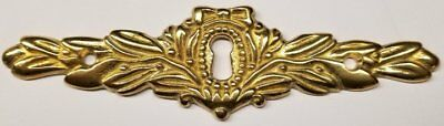 Cast Brass Victorian Style Keyhole cover desk drawer long horizontal antique ...