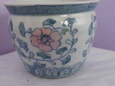 Fab Vintage Chinese Flower & Leaf Design Plant Pot 10 Cms Dia, 7.5 Cms Tall