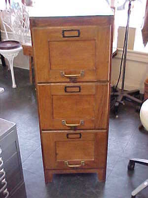 Antique Oak 3 Drawer File Cabinet