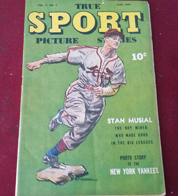 True SPORT Picture Stories Vol 2 No.7 June 1944 Stan Musial Cover Fine Condition