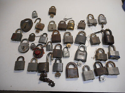 L2730- Lot of Antique Vintage Padlocks Locks - Assorted Estate Finds