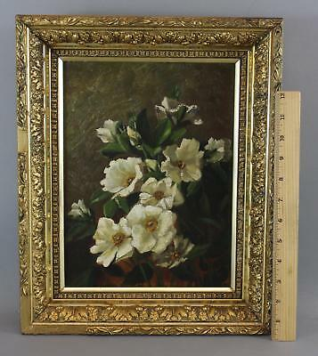 Signed 19thC Antique Victorian Floral Stillife Oil Painting, Dogwood Flowers, NR