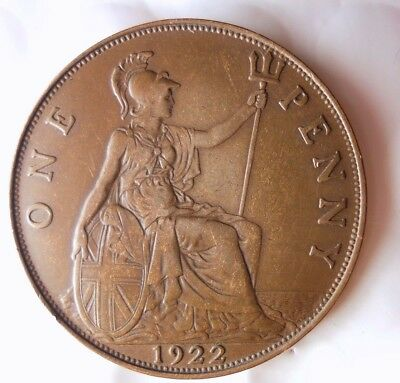 1922 GREAT BRITAIN PENNY - AU - HIGH Quality Hard to Find Coin - Lot #D8