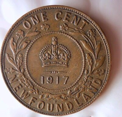 1917 CANADA (NEWFOUNDLAND) CENT - AU - Very Low Mintage Coin - Lot #D8