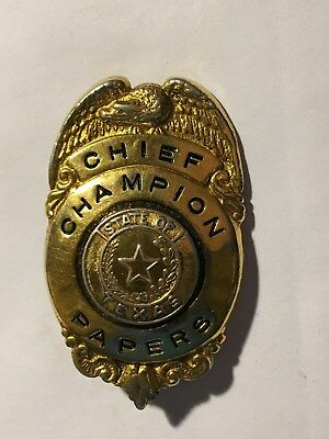 Pasadena, Tx. Champion Papers, Chief Badge, State of Texas