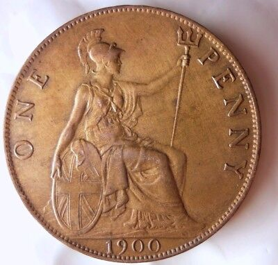 1900 GREAT BRITAIN PENNY - AU/UNC - GEM Quality Hard to Find Coin - Lot #D8