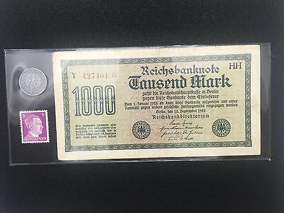 German WW2 Rare 10 Rp Coin & Stamp with 1000 Mark Bill in holder