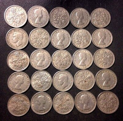 Vintage Great Britain Coin Lot! 25 Excellent 6 Pence Coins - Wedding - Lot #D8