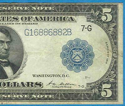 $5.00 1914 Fr.871 Chicago  District  Federal Reserve Note Very Fine