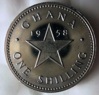 1958 GHANA SHILLING PROOF - AU/UNC - Rare Exotic African  Coin - Lot #D8