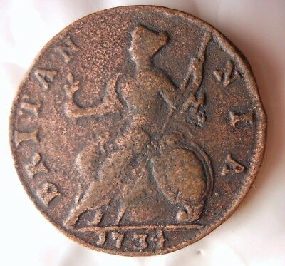 1734 GREAT BRITAIN 1/2 PENNY - VERY HIGH QUALITY - Hard to Find Coin - Lot #D8